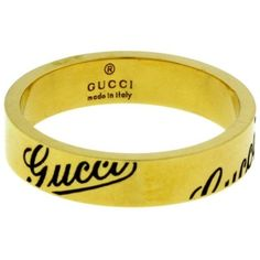 Pre-owned Gucci Logo 18K Yellow Gold Thin Band Ring Size 6.5 ($499) ❤ liked on Polyvore featuring jewelry, rings, engraved rings, wedding rings, yellow gold wedding rings, gold wedding rings and yellow gold rings