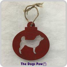 Shiba Inu Laser Cut Wood Christmas Ornament