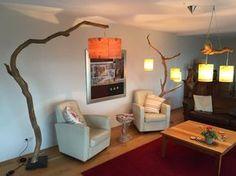 Spécial arc lampe/lampadaire en finement ouvré branche de chêne, sur base avec placage en bois véritable abat-jour en pierre.