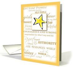 Girl Scout Gold Award, Congratulations with Star, Promise and Law card. Personalize any greeting card for no additional cost! Cards are shipped the Next Business Day. Product ID: 337362 Girl Scout Gold Award, Girl Scout Bridging, Girl God, Girl Scout Cookies, Some Cards, Congratulations Card, Rose Design, 50th Anniversary, Girl Scouts