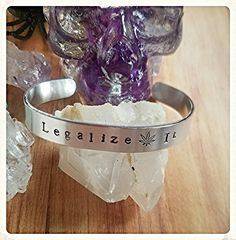 Legalize It Stamped Aluminum Cuff Bracelet Weed Stoner Chic Gift for Her Boho Chic Women Jewelry