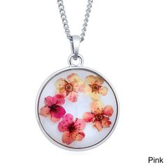 Beverly Hills Sterling Silverplated Round Glass Genuine Dry Multi-colored Flowers Necklace