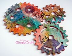 Gelli Printing everywhere, to large MDF cogs to....