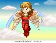 Illustration of an angel with a rainbow at her back