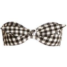 Ephemera Gingham tie-front bandeau bikini top ($140) ❤ liked on Polyvore featuring swimwear, bikinis, bikini tops, black white, bandeau top, bandeau tankini tops, swim tops, tankini tops and gingham bikinis