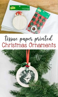 DIY Tissue Paper Printed Christmas Ornaments - the perfect gift idea that's sweet and sentimental, plus it's a fun holiday craft to make! All Things Christmas, Christmas Crafts, Christmas Decorations, Christmas Ornaments, Christmas Ideas, White Christmas, Diy Ornaments, Country Christmas, Holiday Decorating
