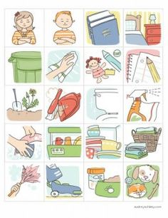 printable chore chart graphics - she has lots of free printable art for home and church use