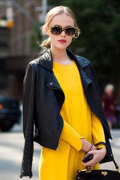 Love the yellow dress with black leather jacket