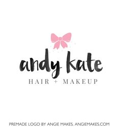 This Premade Cute Bow Logo Features a Cute Bow Logo With Modern Brush Lettered Text. Perfect for Your Next Logo and Branding!