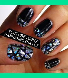 Glitter Pieces Nail Art | Hannah M.'s (hannahroxit) Photo | Beautylish