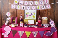"""Photo 2 of 9: Dinosaurs / Birthday """"Girl Dinosaurs Printable Party Kit"""" 