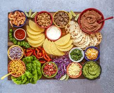 with this epic board (and - Mama Disrupt - - Now this is taco night, done right! And you can't have a taco bar without margaritas, so that's excuse enough to make this epic taco board. Mexican Dinner Party, Taco Dinner, Mexican Night, Mexican Fiesta Birthday Party, Taco Bar, Party Ideas, Party Food Platters, Charcuterie And Cheese Board, Vegetarian Recipes