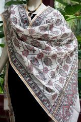madhubani art on dupatta, intricate and beautiful