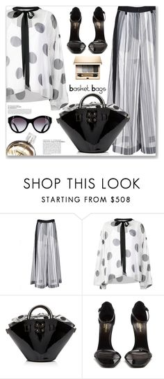 """""""Polka Dots Basket Bags"""" by jecakns ❤ liked on Polyvore featuring Sacai, Sachin + Babi, Yves Saint Laurent, Clarins and Chanel"""
