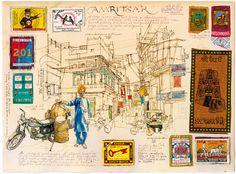 Der Illustrator und Bühnenbildner Stefano Faravelli zeichnet auf Reisen geheime Gärten und verfallene Städte in sein Tagebuch. Erinnerungen in Buntstift und Kleber