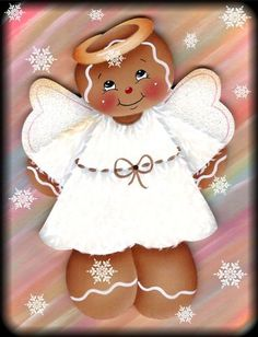 LAMINATED FRIDGE MAGNET (MINIATURE) Gingerbread Angel