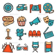 Buy Cinema Icons Set Color by macrovector on GraphicRiver. Cinema decorative icons colored set with video screen film camera movie ticket isolated vector illustration. Journal Stickers, Scrapbook Stickers, Planner Stickers, Tumblr Stickers, Cute Stickers, Cinema Wallpaper, Posca Marker, Doodles, Movie Tickets