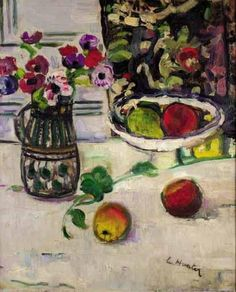 George Leslie Hunter, STILL LIFE WITH ANEMONES AND APPLES