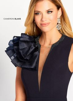 Cameron Blake 119645 - This glamorous organza and stretch crepe fit and flare gown features a deep plunging V-neckline with an illusion panel and a beaded collar, a dramatic ruffled statement accent on the entire right shoulder and a sweep train. Dress Neck Designs, Blouse Designs, Cameron Blake, Elisa Cavaletti, Fashion Sewing, Fashion Fashion, Classy Dress, Fashion Details, Elegant Dresses