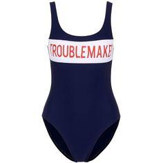 Zoe Karssen 'Troublemaker' bandeau print swimsuit ($120) ❤ liked on Polyvore featuring swimwear, one-piece swimsuits, swimsuits, dresses, blue, blue one piece swimsuit, sporty bathing suits, bandeau swimsuit, tank swimsuit and sporty one piece swimsuits