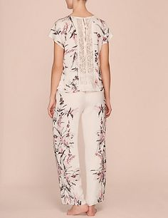 Floral Print Lace Back Pyjama Set