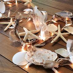 Artisan handmade lighted rope garland with seashells, real starfish. Coastal beach decor perfect for beach gifts, seashell decor, coastal gifts. Seashell Garland, Beaded Garland, Coastal Decor, Coastal Cottage, Coastal Homes, Coastal Living, Garland Wedding, Wedding Draping, Beach Gifts