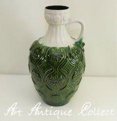 Große Bay Keramik Vase 77 45 West Germany Bodenvase Vintage Henkelvase Relief