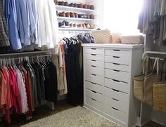 put a small dresser at the back of a walk-in closet