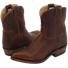 Frye Billy Short Cowboy Boots (2,900 MXN) ❤ liked on Polyvore featuring shoes, boots, ankle booties, ankle boots, brown, frye booties, platform ankle boots, leather booties and brown ankle boots