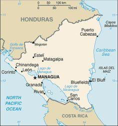 Map of Nicaragua. Terrain, area and outline maps of Nicaragua - CountryReports Bluefields, Nicaragua Managua, Study Spanish, How To Speak Spanish, Honduras, Nicaraguan Revolution, Puerto Rico, Mosquito Coast, Travel Alerts