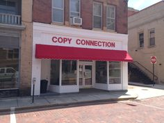 Commercial awning at Copy Connection in Bradford, PA #commercialawning #JamestownAwning www.JamesotwnAwning.com