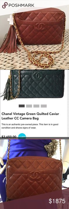 SALE Chanel vintage caviar quilted bag with tassel Used Chanel vintage caviar quilted leather crossbody bag with tassel.  Very good deal(only bag, no dust bag, no card, no box) still in very good condition CHANEL Bags Crossbody Bags