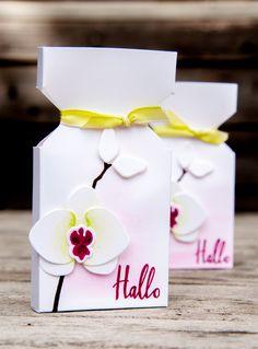 Diese kleinen Schätzchen habe ich letztens als kleine Bestellungsbeigaben gewerkelt. In der kleinen Verpackung ist eine Minirittersport Schoko versteckt. Ich wollte das wunderbare Orchideen Produkt…