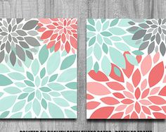 Bathroom Art Flower Burst Print Set Home by PrintsbyChristine