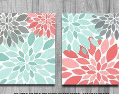Bathroom Art Flower Burst Print Set Home by PrintsbyChristine