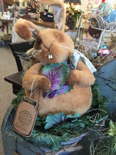 Primitive Bunny in cabbage. Pattern by Olde Pear Primitives©2017  www.oldepearprimitives.com  Come visit our shoppe! Located at 11 South Broadway Pitman,NJ 08071  Hours: Tues-Sat. 10am-5pm Telephone:(856)269-4730