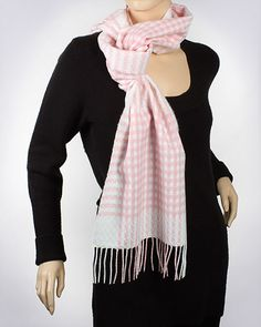 Cashmere Feel Woven Muffler: Basket Weave Over Plaid / PINK WHITE