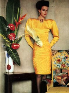 Sheila Metzner for American Vogue, April 1985. Dress by Ungaro.