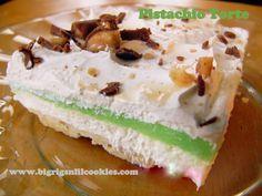 Pistachio Torte - Switch out Pistachio Pudding with Pumpkin and perfect for Thanksgiving! Pistachio Dessert, Pistachio Pudding, Just Desserts, Delicious Desserts, Yummy Food, Frozen Desserts, Tasty, Pie Dessert, Dessert Recipes