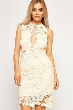 Lisa Floral Lace Sleeveless Open V-Neck Dress | WearAll