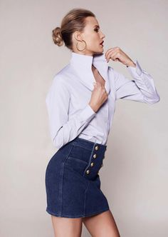 The Signature Shirt is fashioned with our innovative and fully shapeable one-piece collar for dramatic styling. Hot Football Fans, Pink Gingham, Business Look, Blouse And Skirt, White Shirts, Navy Stripes, Sexy Outfits, Talbots, Shirt Blouses