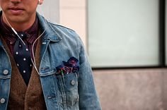 Unexpectedly harmonious.  Love the tweed vest layered under the denim jacket.