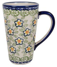 Art Pottery Polish Pottery New Fashion Large Mug Poppy Flower Decoration Signature Art Polish Pottery