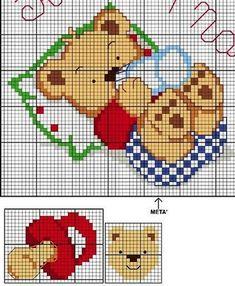 55 Cross Stitch Charts for Babies – Ponto Cruz – Beautiful Graphics - Stickerei Ideen Baby Cross Stitch Patterns, Cross Stitch For Kids, Cross Stitch Baby, Cross Stitch Charts, Cross Stitch Designs, Cross Stitching, Cross Stitch Embroidery, Baby Motiv, Kids Patterns