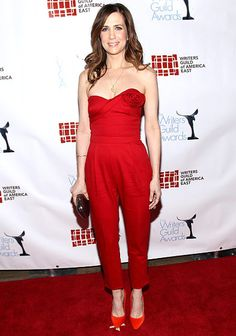 Jumpsuit Addict!!   Kristen Wiig wowed at the Feb. 19, 2012 Writer's Guild Awards in a red-hot Valentino jumpsuit.