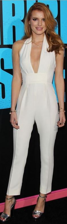 Who made  Bella Thorne's silver platform sandals and white jumpsuit that she wore in Hollywood on November 20, 2014?
