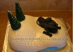 Coolest Snowmobile Cake... This website is the Pinterest of birthday cake ideas