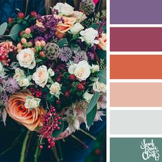 // Floral color inspiration for wedding color palettes or flower arrangements. Just beautiful! Find color inspiration for painting, coloring books, eyeshadow palettes, interior design color schemes, wedding colors and more at sarahrenaeclark.com #colorscheme #colorinspiration #colorideas Interior Design Color Schemes, Color Schemes Colour Palettes, Spring Color Palette, Nature Color Palette, Room Color Schemes, Colour Pallette, Color Combinations For Clothes, Design Seeds, Colorful Flowers