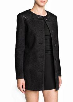 DianShao Women Single Breasted Coat Long Sleeve with Pocket Round Neck Jacket Stitching Outwear Mango Coats, Plaid And Leather, Modele Hijab, Latest Street Fashion, Plus Size Womens Clothing, Outerwear Women, Coats For Women, Fashion Outfits, Long Sleeve