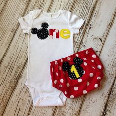 Mickey Mouse Red Black and Yellow Boy or Girl First Birthday Cake Smash Outfit - Photography Prop, Birthday Outfit, Diaper Cover Set by Polkadotologie on Etsy